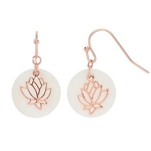 LC Mop Disc With Lotus Overlay Drop Earrings